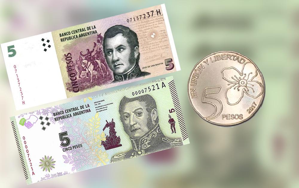 Los billetes de 5 pesos saldrán de circulación
