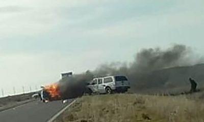 Río Negro: un muerto en choque e incendio en la Ruta 3