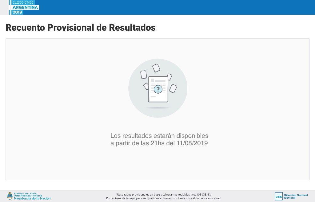 PASO: Se demora la carga de datos oficial del escrutinio provisorio